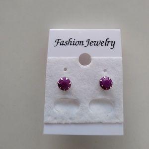 Jewelry - Silver Tone Purple Earrings